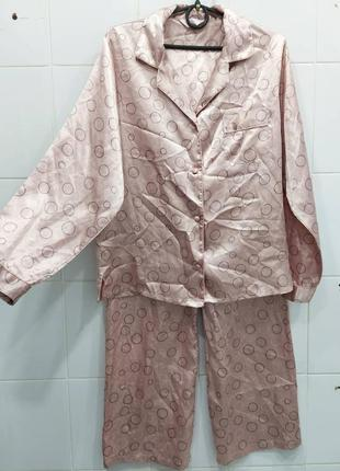 Нежная атласная мягкая пижама пудрового цвета рубашка + штаны