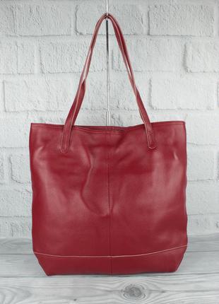 Кожаная сумка-шоппер с клатчем внутри vera pelle 2397-1 красна...