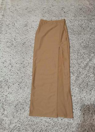 Юбка длинная, юбка бежевая, юбка миди, missguided