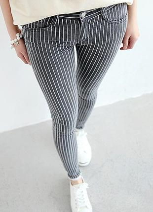Стрейчевые джинсы в полоску средняя посадка