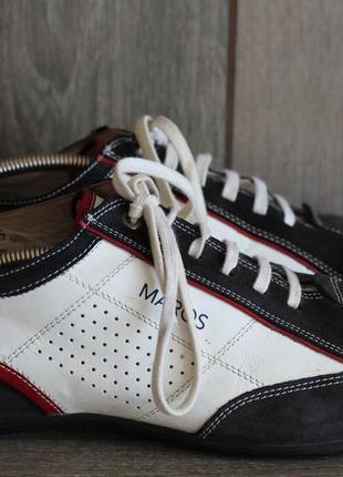 Стильные спортивные туфли, мокасины maros натуральная кожа