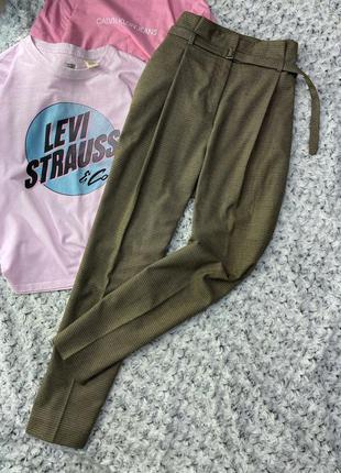 Штаны/брюки на высокой посадке со стрелками в клетку zara