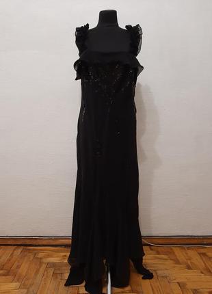Итальянское черное  вечернее платье большого размера