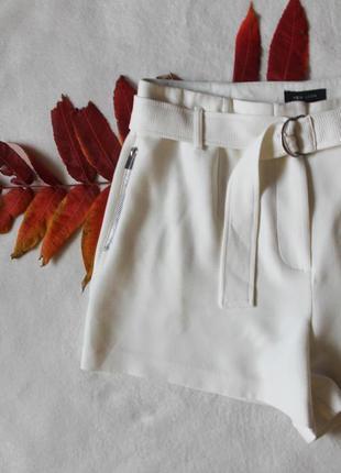 Белые плотные шортики с поясом от new look, размер xxl ❤️