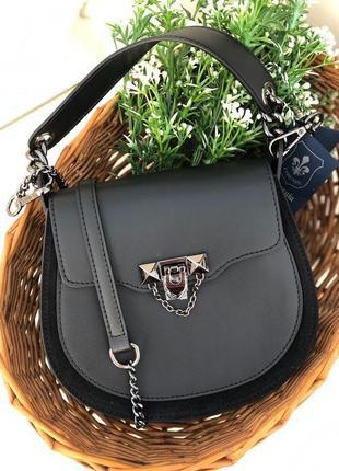 Милейшая сумочка из натуральной кожи чёрная