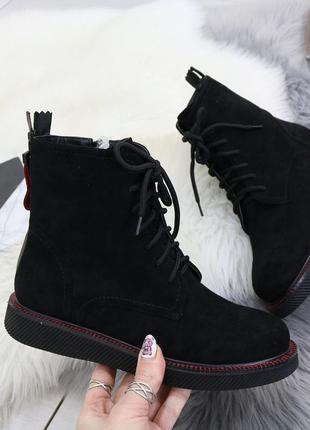 Замшевые демисезонные ботинки с молниями,чёрные замшевые ботинки