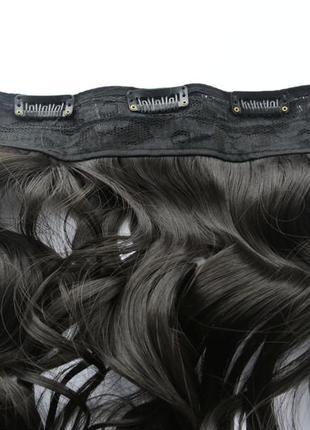 11-4 накладные волосы на заколках затылочная прядь трессы темн...