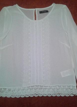 Блуза белая с кружевом s-m