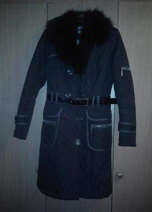 Пальто зимнее/ куртка стеганная с натуральным мехом