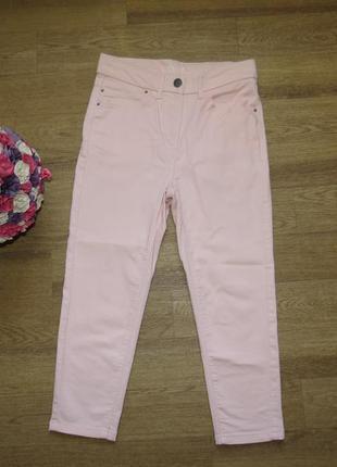 Кроп пудровые  брюки /джинсы нежно-розового цвета
