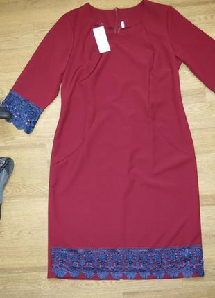 Новое нарядное платье миди с кружевом