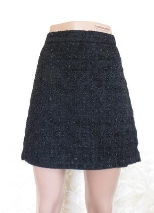 Черная юбка трапеция с люрексом