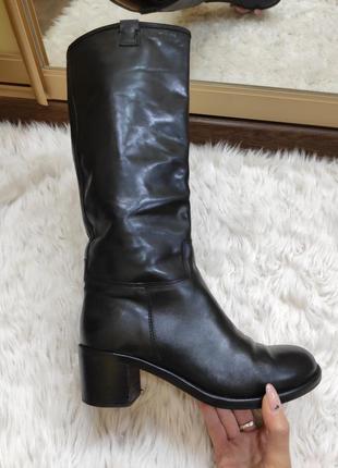 Шикарные итальянские кожаные высокие сапоги vero cuoio