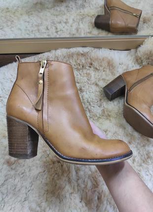 Коричневые кожаные ботинки /полусапожки на среднем каблуке