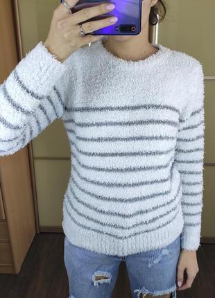 Мягкий теплый свитер травка в полоску