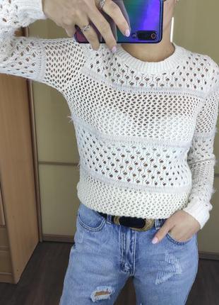 Стильная кофта свитер джемпер в сетку