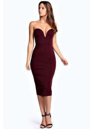 Бордовое платье бюстье миди по фигуре от boohoo