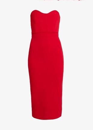 Красное платье - бюстье по фигуре /миди с открытыми плечами