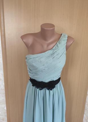 Мятное вечернее платье в пол от h&m