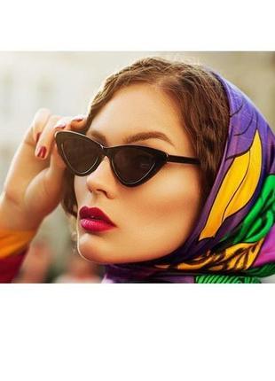 Солнцезащитные имиджевые очки cat eye чёрного цвета