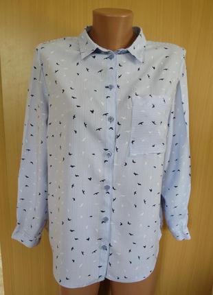 Стильная легкая рубашка в полоску в птичках