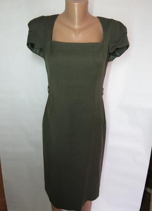Офисное платье миди цвета хаки