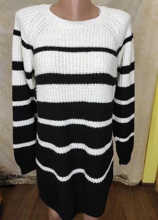 Вязаное свитер платье в полоску