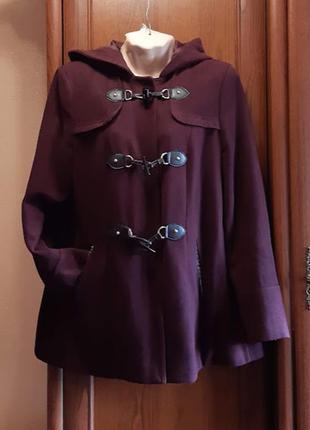 Дафлкот пальто кашемировый с капюшоном марсала