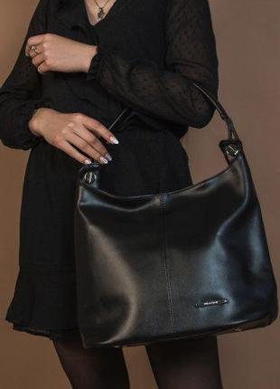 Большая сумка хобо, удобная сумка мешок черная