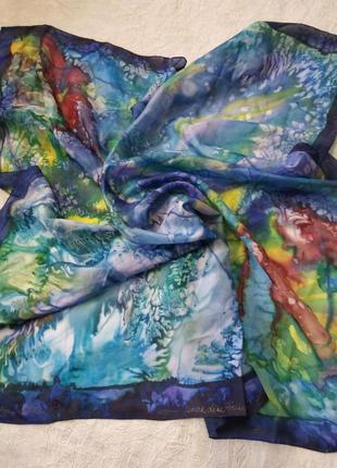 Платок / косынка шелковая ручная роспись, шов роуль