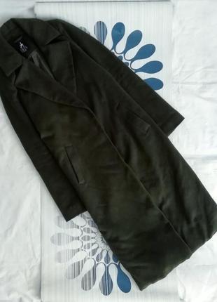 Удлиненное длинное пальто классическое хаки зеленое прямое хак...