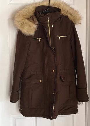 Zara парка зимняя теплая куртка с мехом коричневая
