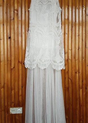 Шикарное вечернее, свадебное, выпускное платье h&m. фатин, выш...