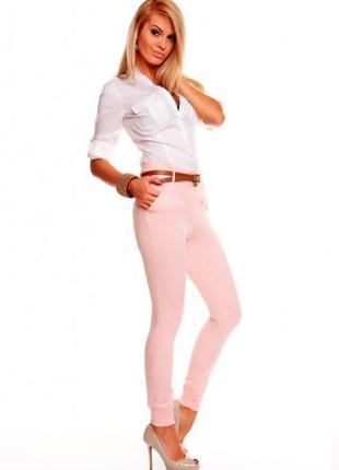 Розовые джинсы скинни молниями высокая талия джеггинсы батал с...