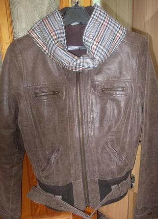 Куртка кожаная debenhams р.12 коричневая