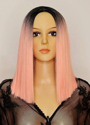 Парик омбре розовый с имитацией кожи термоволокно