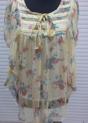 Блуза летняя женская желтого цвета, блуза двойка шифоновая