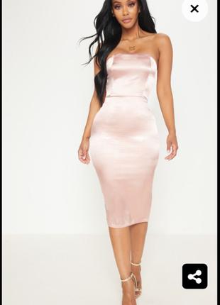 Нежное платье миди сатин