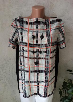 Дизайнерская блуза, клетка, разрезы, интересный крой, 100% шёл...