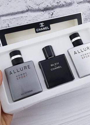 Мужской подарочный набор парфюмерии chanel  3x25ml