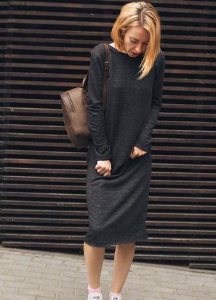 Черное платье миди, трикотажное платье, базовое платье, весеннее