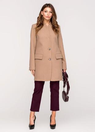 Стильное женское весенее бежевое пальто пиджак в клетку демисезон