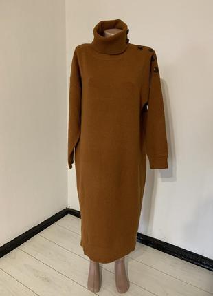 Тёплое горчичное платье свитер оверсайз с разрезами