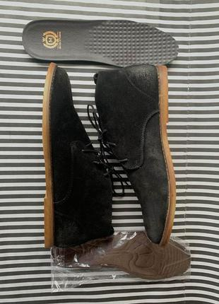 Черные классические туфли ботинки потертая замша  - мужские