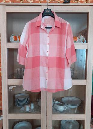Классная льняная рубашка большого размера