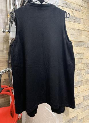 Жилетка кардиган чёрный без застежки свободного кроя
