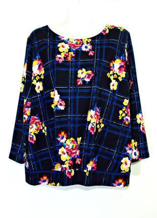 Распродажа! мягкая темно-синяя блуза с цветами р.16