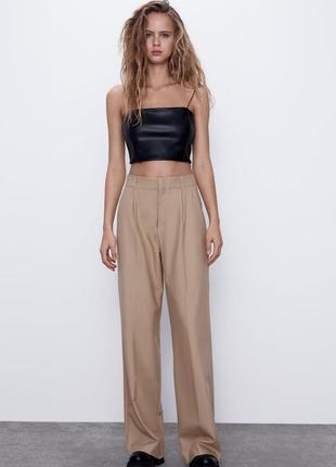 Бежевые классические штаны брюки палаццо прямые широкие высоко...