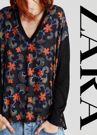 Свободный джемпер, пуловер с глубоким вырезом zara