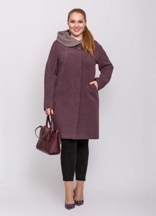 Скидка! женское демисезонное винное пальто с капюшоном большие...